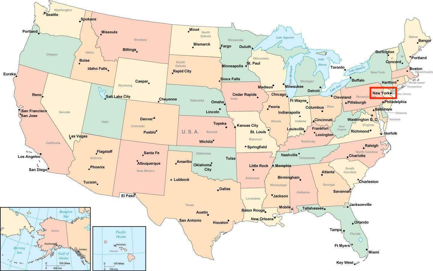 New York Kartta Usa New York On Usa Map New York Usa